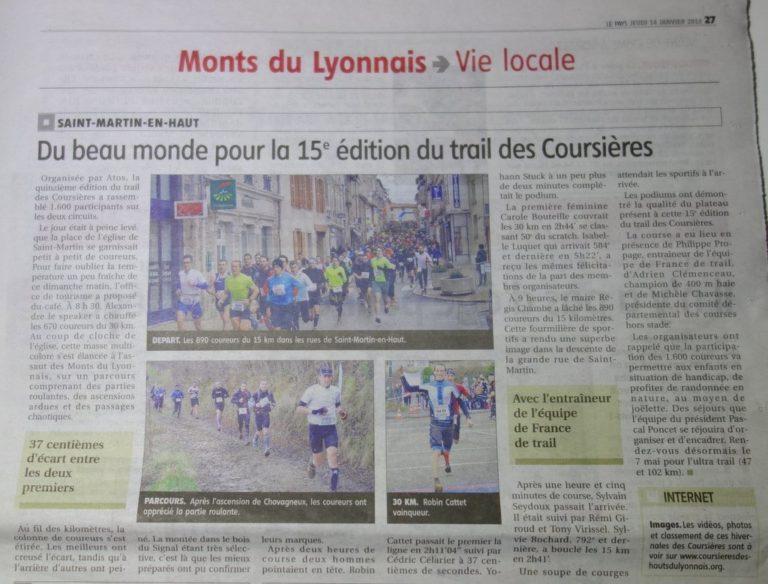 Article Trail Hivernal des Coursières 2016